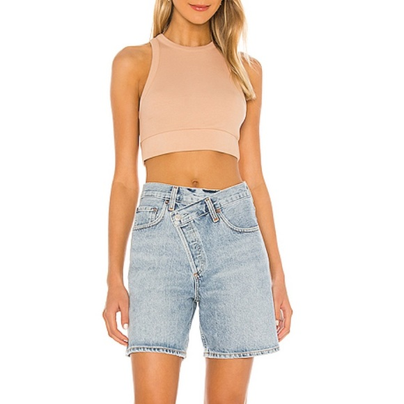 Agolde criss cross shorts in blue denim